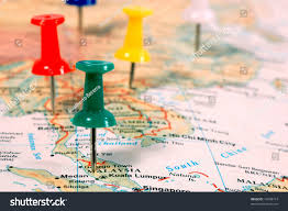 Map Of Se Asia by Map South East Asia Pins Showing Stock Photo 16699714 Shutterstock