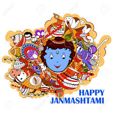 doodle edit easy to edit vector illustration of happy krishna janmashtami