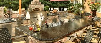 Kitchen Luxury Outdoor Kitchen Design With Natural Brown Stone U - Granite top island kitchen table