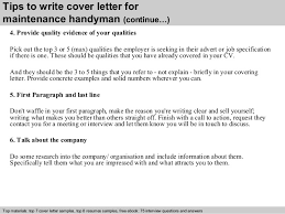 letter for handyman position