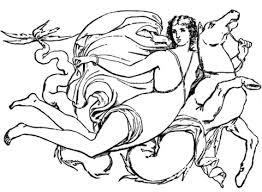 goddess flying horse coloring free printable