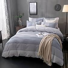 Duvet 100 Cotton Amazon Com Merryfeel 100 Cotton Yarn Dyed Duvet Cover Set Full