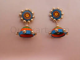 quilling earrings set multicolour quilling stud base with gold hjk 068 jpg