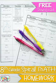 free 8th grade common core spiral math homework with answer keys