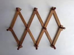 vintage wooden accordion wall rack cottage peg rack expandable