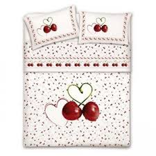 Cherry Duvet Cover Small Double Duvet Cover And Pillowcase Cherries Amazon Co Uk