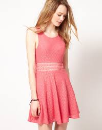 free people free people lace skater dress with daisy trim in pink