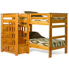 bedroom cozy space saver bunk beds patterned bedding and brown