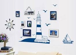 sailing boat lighthouse sea gull wall sticker wall background