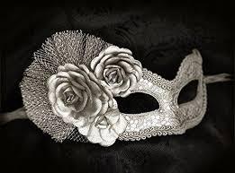 silver masquerade masks metallic silver masquerade mask with fabric roses us
