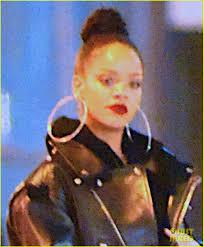 rihanna hoop earrings rihanna wears hoop earrings with leather jacket photo