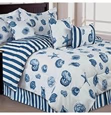 Beachy Comforters Amazon Com Seashell Beach House Nautical King Quilt Shams U0026 Toss