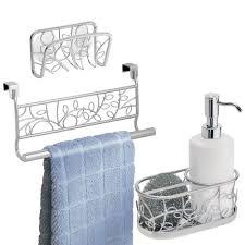 kitchen sink cabinet sponge holder silver white cabinet door towel bar vines mdesign