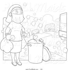 clipart of a coloring page of a woman wearing a mask over her face