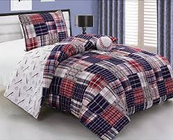 Blue Comforter Set Full 3 Piece Baseball Sports Theme Plaid Red White And Blue Comforter