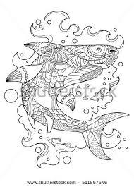 shark coloring book adults raster illustration stock illustration