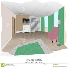 stylish minimalism bedroom interior sketch stock vector image