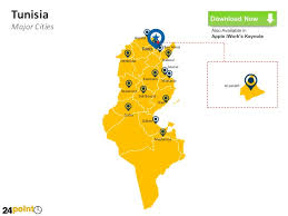 map of tunisia with cities tunisia map fully editable powerpoint slides