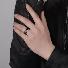 black wedding bands for him and two tone tungsten wedding bands set for women men white black