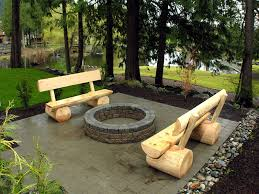Firepit Benches Custom Built Log Benches And Wood Burning Pit In The Flickr