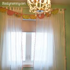 White Curtains With Pom Poms Decorating Make Boutique Nursery Drapes With Pre Made Curtains And Pom Pom