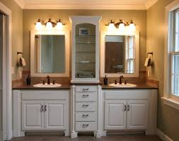 Master Bath Idea White Walls Cream Colored Counters And His And - Bathroom sink design ideas