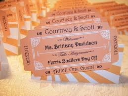 themed place cards ticket personalized place cards ticket cards