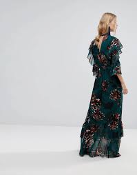 lyst y a s bold floral print ruffle maxi dress