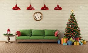 living room with sofa colorful gifts and christmas tree in
