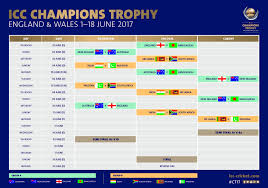 Cricket World Cup Table Champions Trophy Schedule 2017 Fixtures Time Table