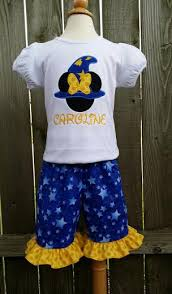 minnie mouse wizard hat t shirt and shorts or capri set