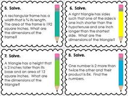 Quadratic Word Problems Worksheet With Answers Quadratic Word Problems Task Cards By The Enlightened Elephant Tpt