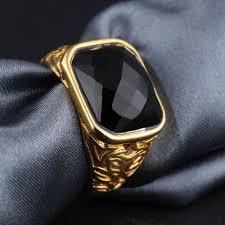 gold metal rings images Trendy red black stone shiny wedding rings men new design gold jpg