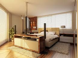 classy double bed on wooden floor under interesting lighting near