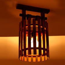 wood flush mount ceiling light vintage wooden and bamboo fixture semi flush mount ceiling lights