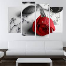 Wall Paintings For Living Room Aliexpress Com Buy 4 Piece Beautiful Red Rose Flowers Wall