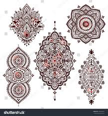 set beautiful indian ethnic ornaments folk stock vector 404256634