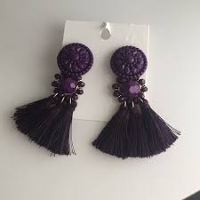 hm earrings 38 h m jewelry h m purple tassels earrings from karizma s