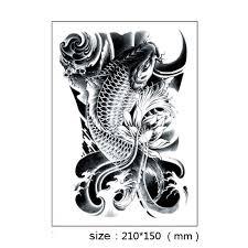 1pc black fish totem temporary tattoo waterproof men women tattoo