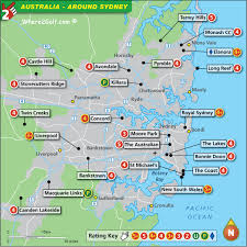 sydney australia map sydney golf map with top golf courses and best golf resorts