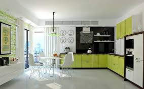 appealing warm green cabinet color idea for modern kitchen with
