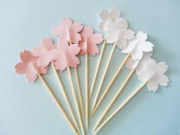 12 cherry blossom sakura party picks cupcake toppers cocktail