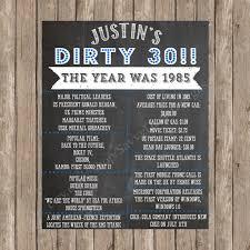 dirty 30 birthday chalkboard sign printable milestone birthday