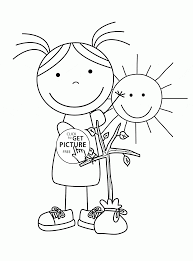 spring sunny day coloring page for kids seasons coloring pages