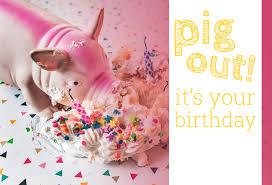 happy birthday postcards birthday postcard pig out