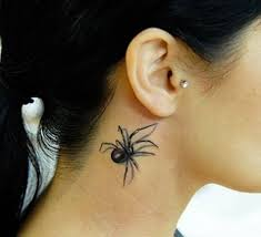 3d spider behind the ear tattoo design for miley cyrus ear
