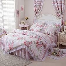 Pink Rose Duvet Cover Set Amazon Com Fadfay Cute Girls Short Plush Bedding Set Romantic