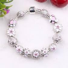flower beaded bracelet images Couqcy zircon pendant bracelets pink flower bead lock charms jpg