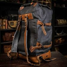 Rugged Leather Backpack Vintage Military Backpack Charcoal U0026 Navy Buffalo Jackson