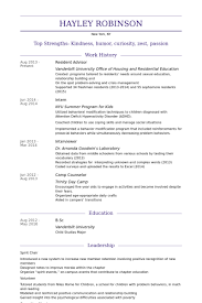 Resume For Professional Job by Resident Assistant Resume 17379